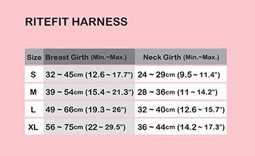 Puppia Soft Harness A sizing chart