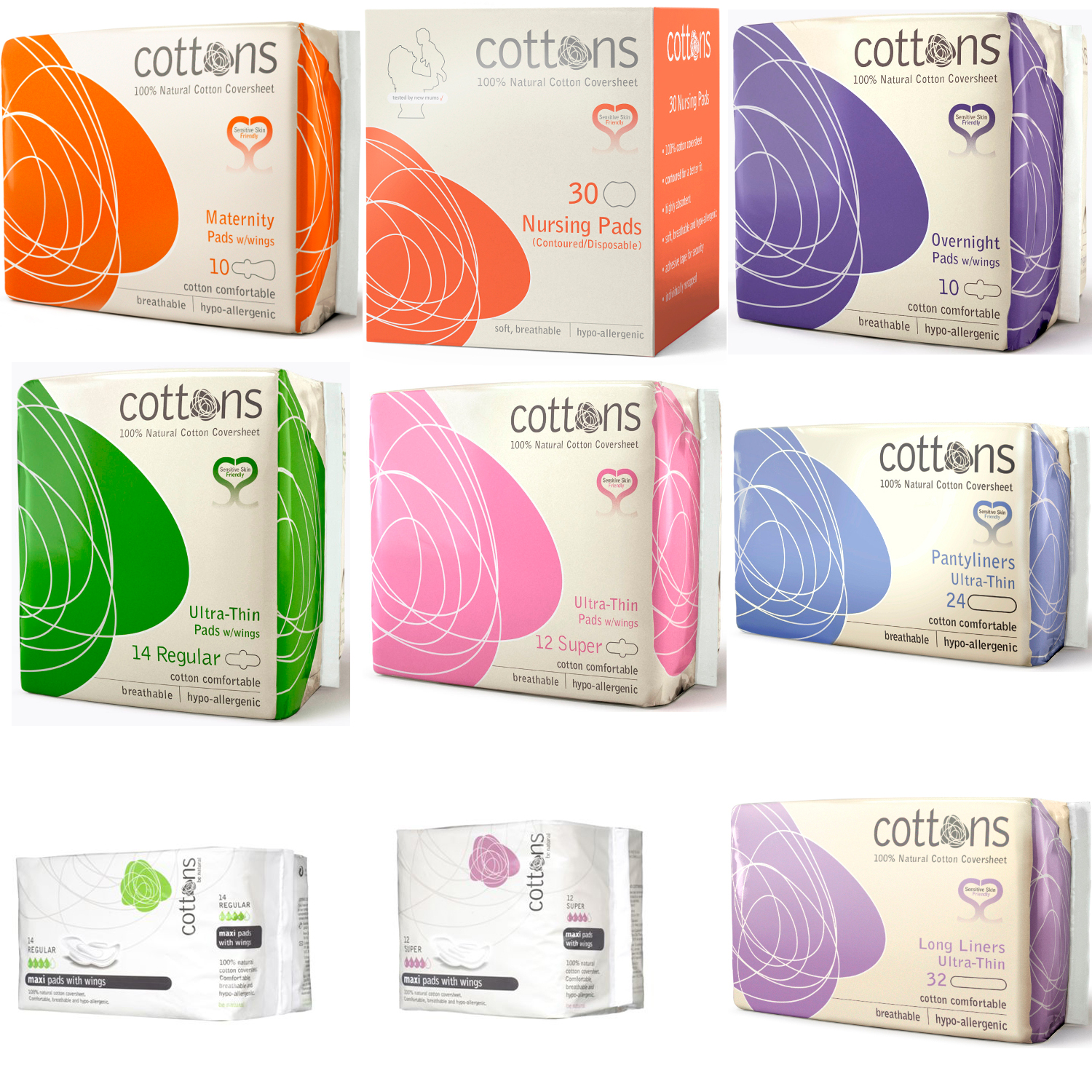 cottons 100 cotton sanitary pads with wings hypo