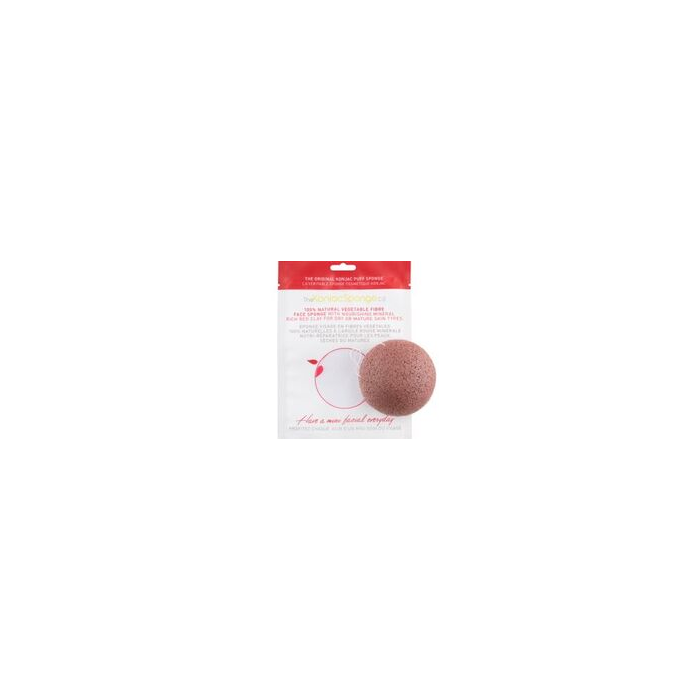100% Natural Konjac Vegetable Fibre with French Red Clay - Facial Puff Sponge Dry Mature Skin