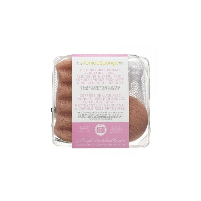 100% Natural Konjac Vegetable Fibre - Luxury Sponge Pack with French Pink Clay
